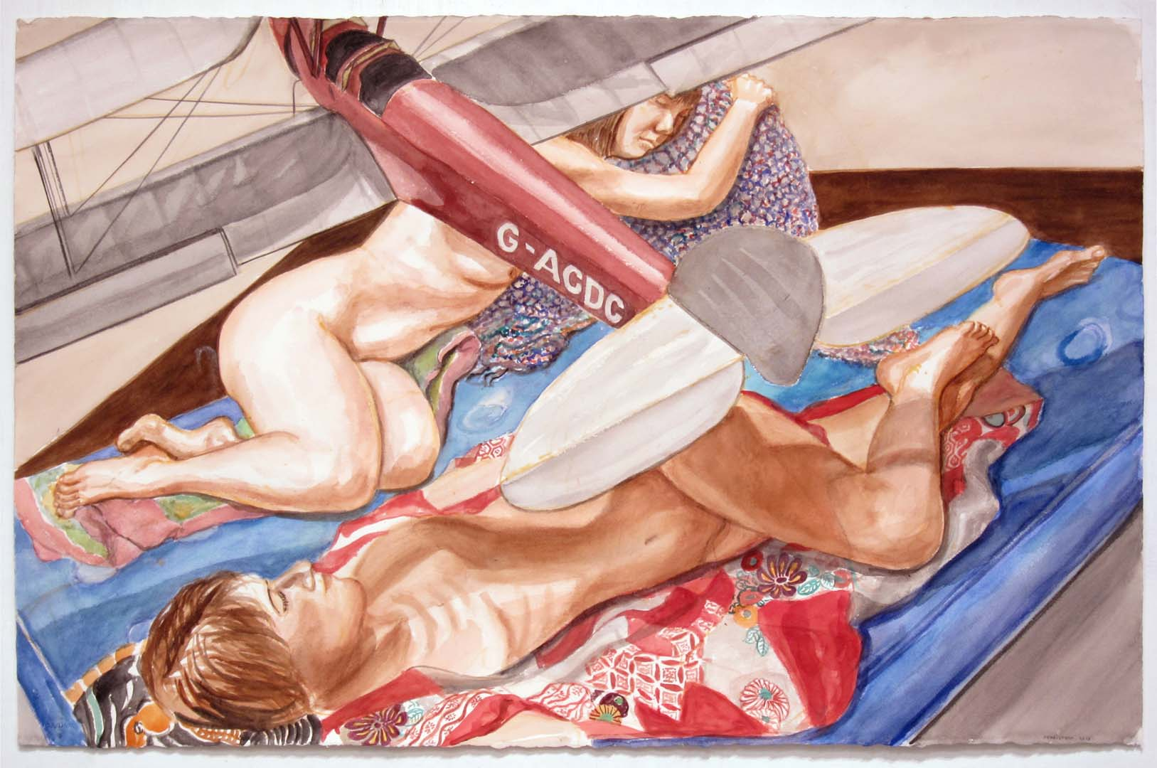 "2014 Study for Two Models with Model Biplane Watercolor on Paper 25.75"" x 40"""