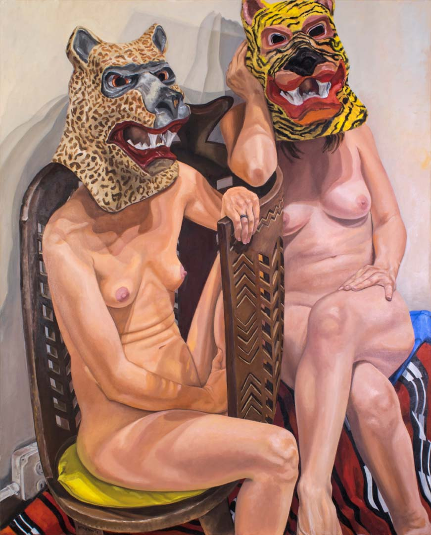 "2015 Two Models in Masks with African Chair Oil on Canvas 60"" x 48"""