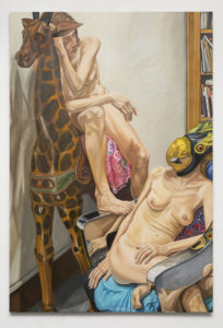Two Models with Giraffe and Bird Masks, Chrome Chair and Bookshelves, Oil on Canvas, 72x48