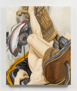 Model on Eames Chair with African Drum and Mask, Oil on Canvas, 34x26
