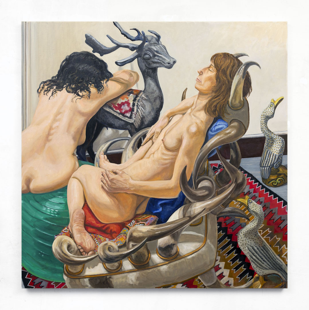 Model on Horn Chair and Model on Athletic Ball on Navaho Rug with Stag and Duck Decoys, Oil on Canvas, 60x60