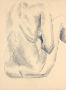 Back of Female Model with Legs Raised Graphite 24 x 17.75