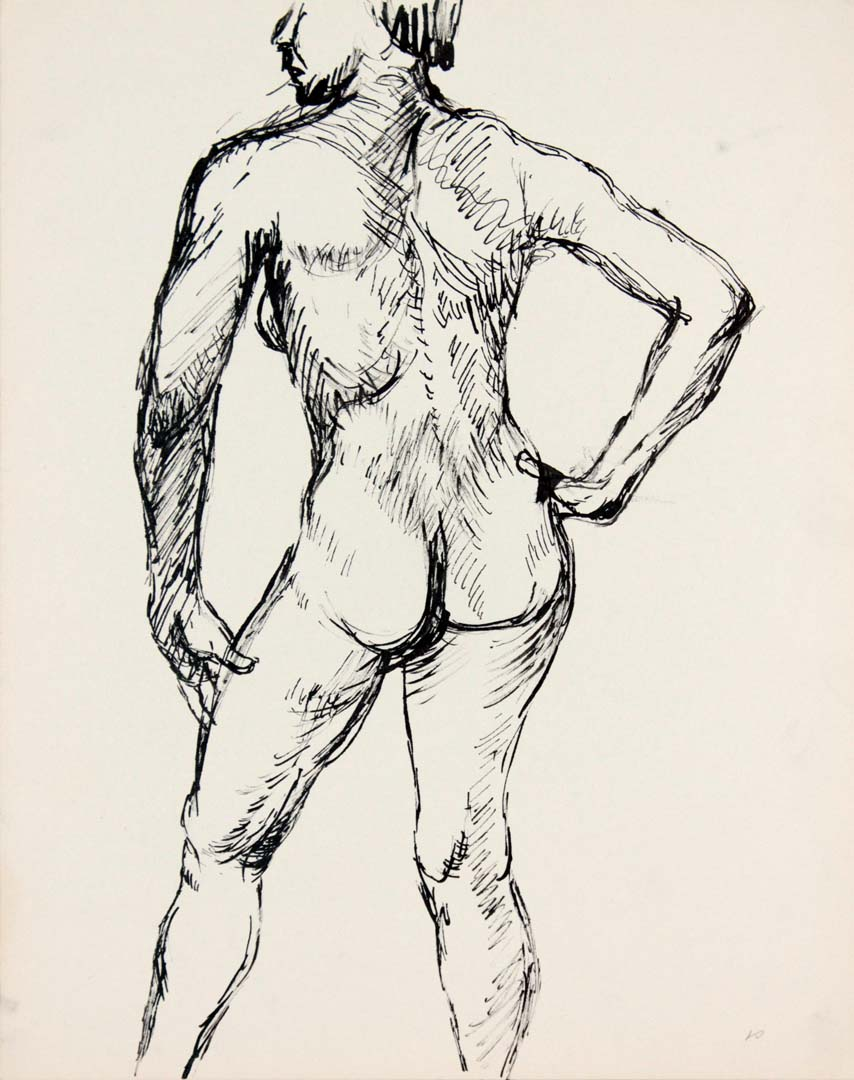 Back of Female Nude Ink 13.875 x 10.875