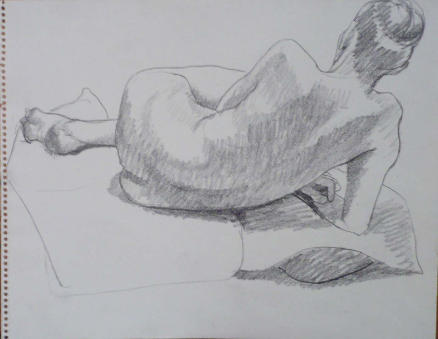 Back of Female Resting on Right Arm Pencil 11 x 14
