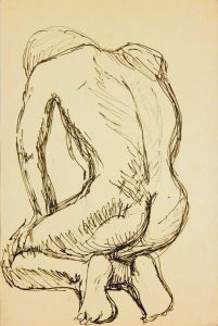 Back of Kneeling Model Ink 17.875 x 12