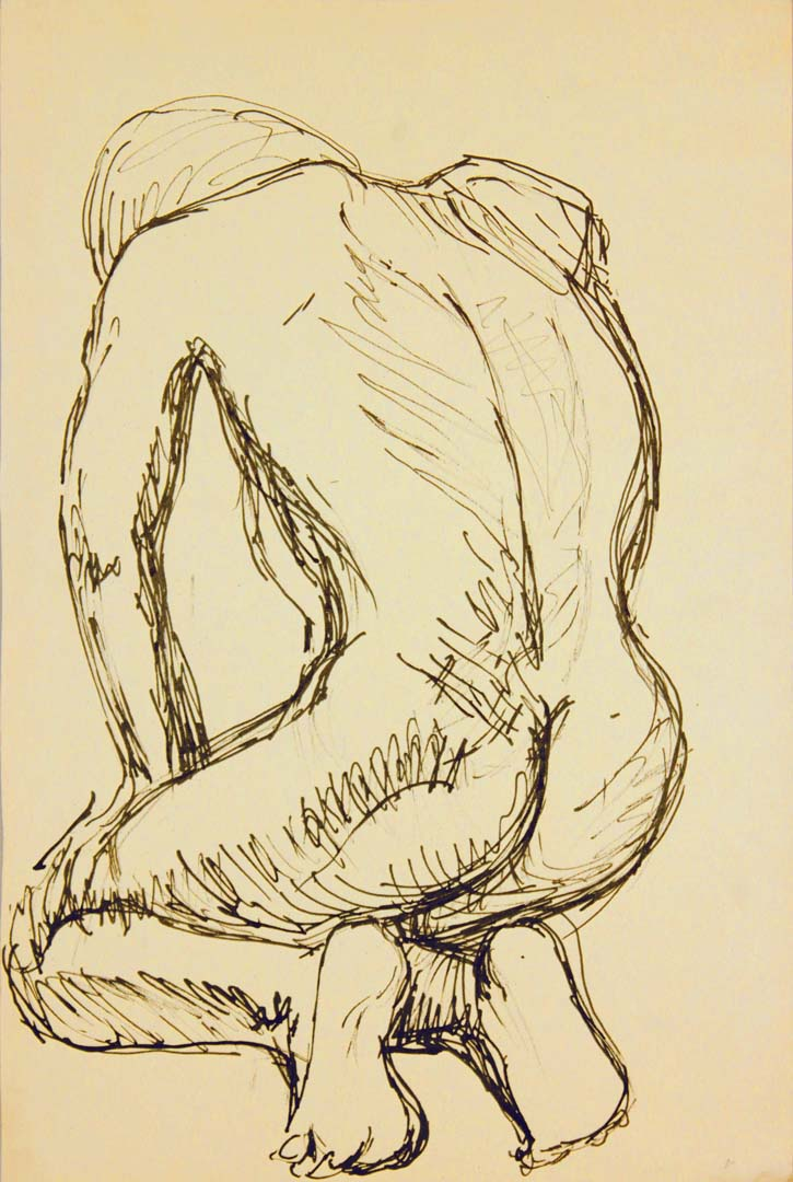 "Back of Kneeling Model Ink 17.875"" x 12"""