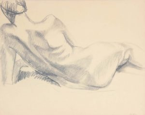 Back of Reclining Nude Graphite 19 x 24