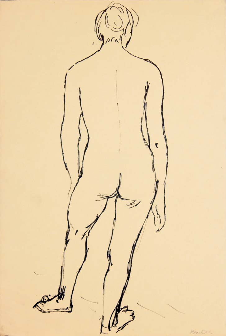 Back of Standing Female Model Ink 17.875 x 12
