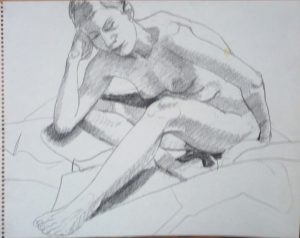 Female Nude Leaning Forward Pencil 14 x 11