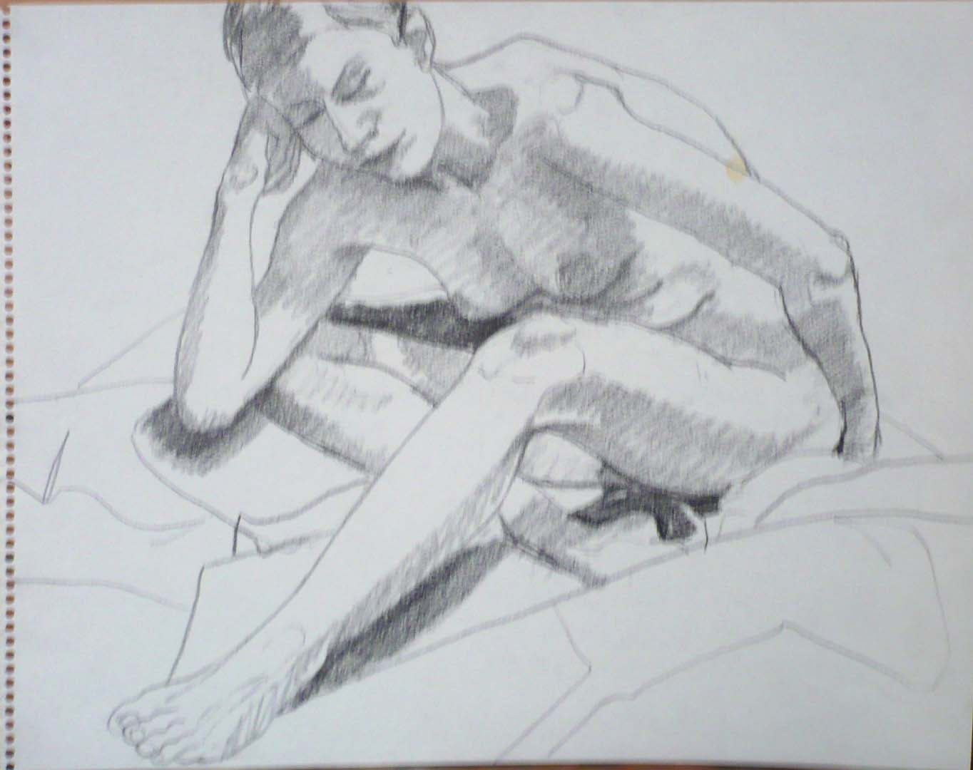 "Female Nude Leaning Forward Pencil 14"" x 11"""