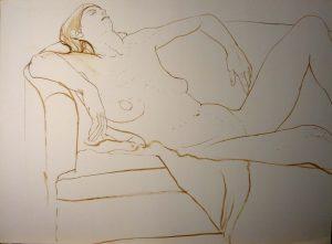 Female Leaning on Sofa Sepia 22.25 x 29.875