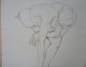 Female Model Bending Forward Pencil 11 x 14