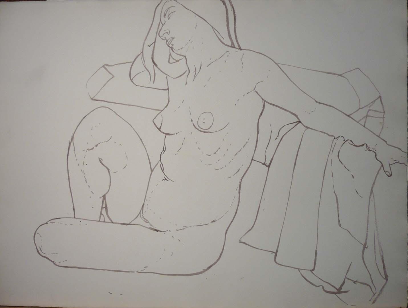 "Female Model Head Resting on Arm Sepia 22.25"" x 29.75"""