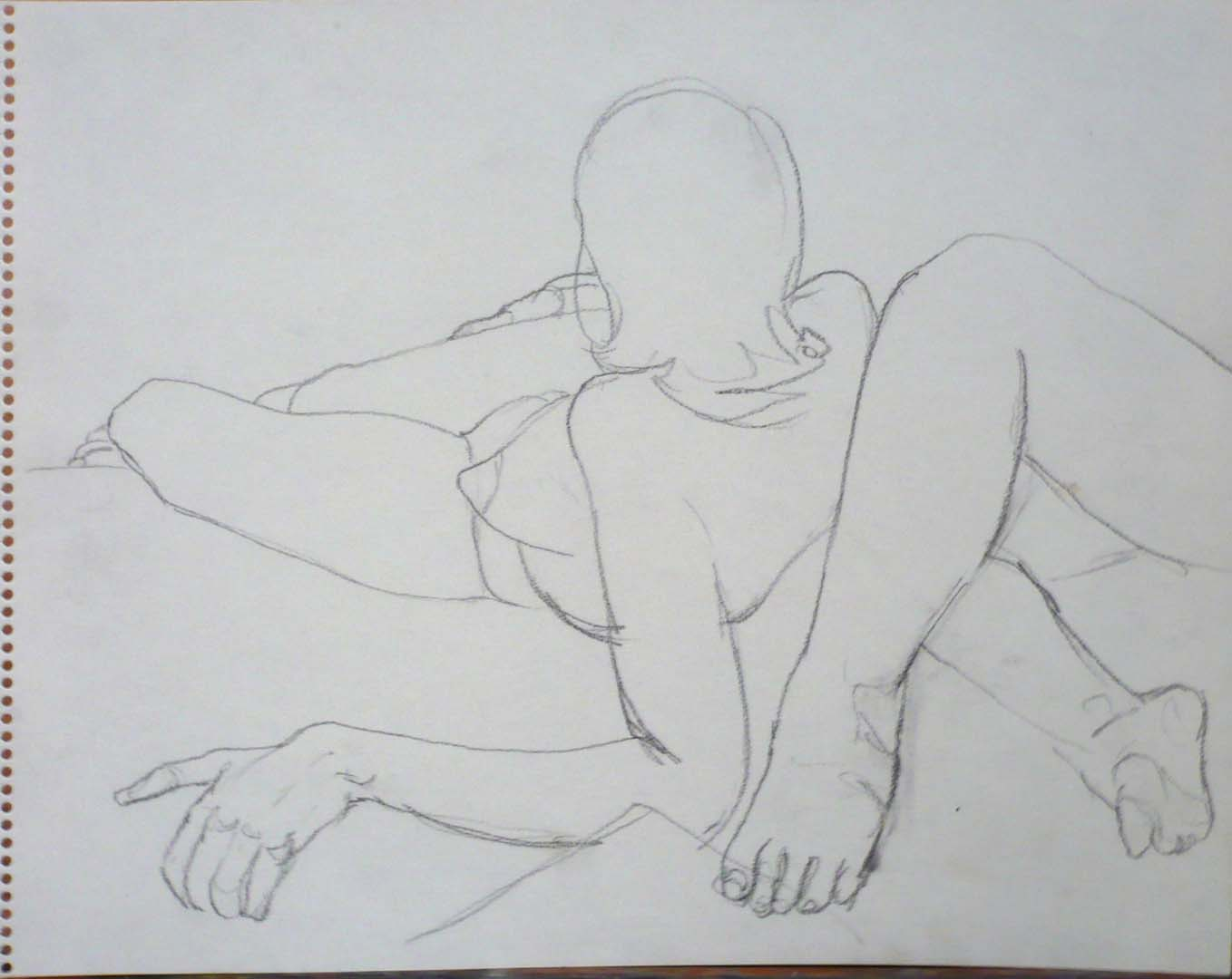 "Female Model Leaning Back and Legs of Model Pencil 11"" x 14"""