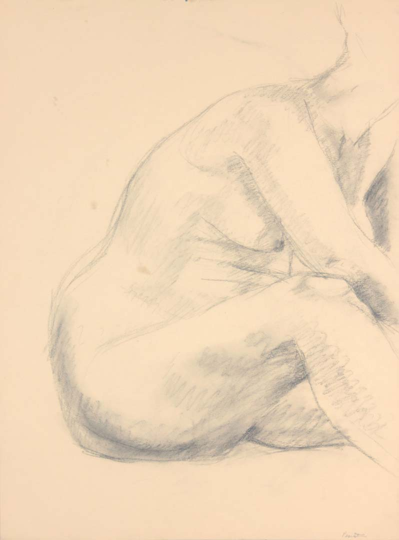 "Female Model Leaning Forward Graphite 24"" x 17.875"""