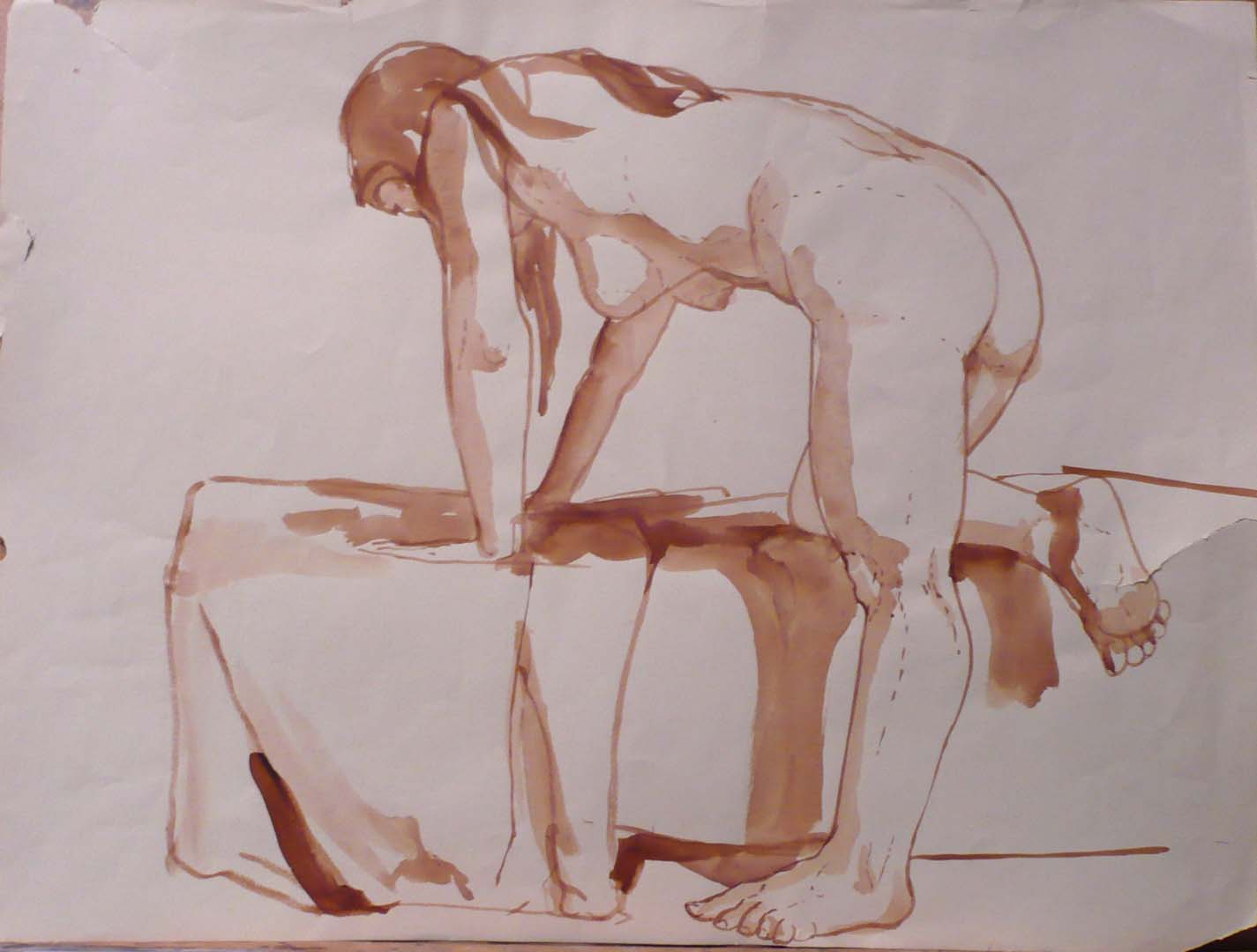 Female Model Leaning Forward Sepia 16.25 x 21.625