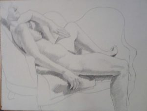 Female Model Reclining on Sofa Pencil 17.875 x 23.625