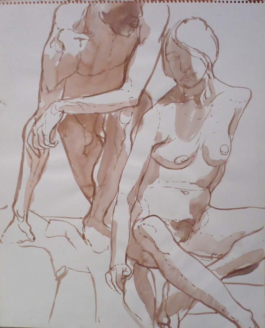"Female Model Seated in Front of Leaning Male Model Sepia 12"" x 14"""