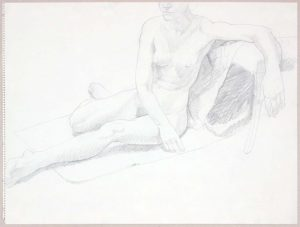 Female Model Seated on Floor Graphite 17.875 x 23.875