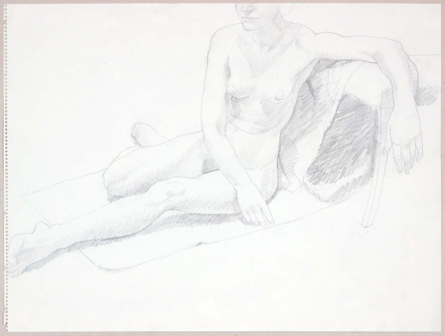 "Female Model Seated on Floor Graphite 17.875"" x 23.875"""