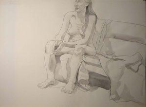 Female Model Seated on Sofa Black Wash 22 x 29.875