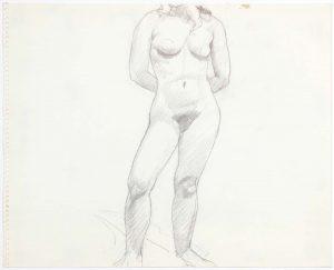 Female Model Standing in Studio Pencil 13.75 x 16.875
