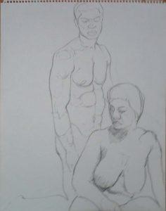Female Model in Front of Kneeling Male Model Pencil 14 x 11
