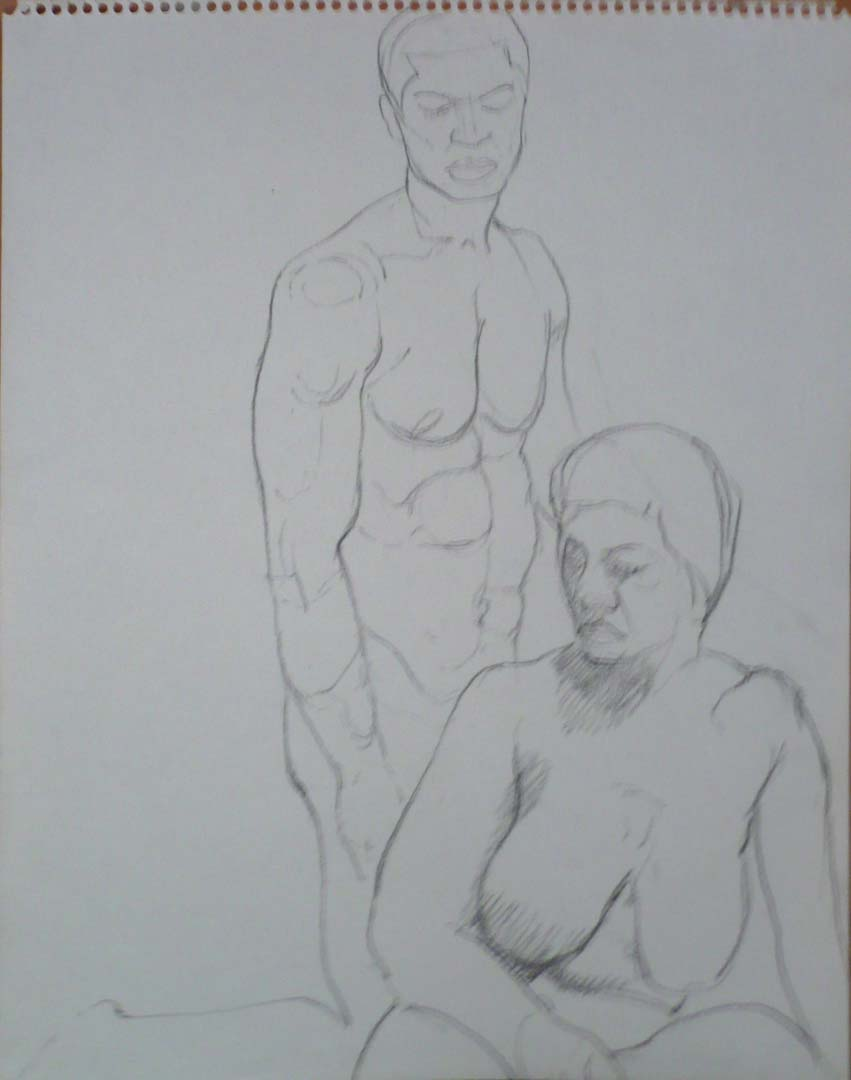 "Female Model in Front of Kneeling Male Model Pencil 14"" x 11"""
