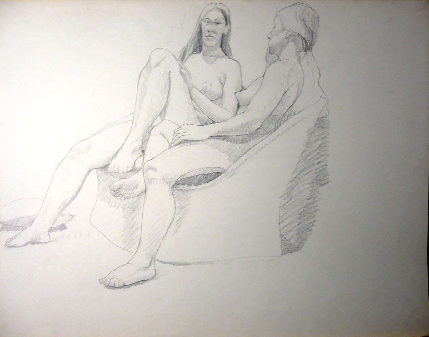 "Female Models Seated in Basket Chair Pencil 22.5"" x 28.5"""