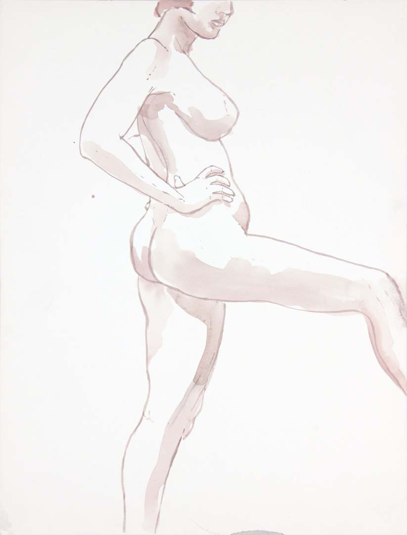 "Female Model with Leg Extended Wash 22.875"" x 17.375"""