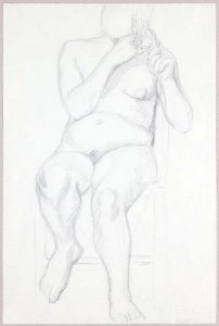 Female Nude Holding Her Hair Graphite 19 x 12.25
