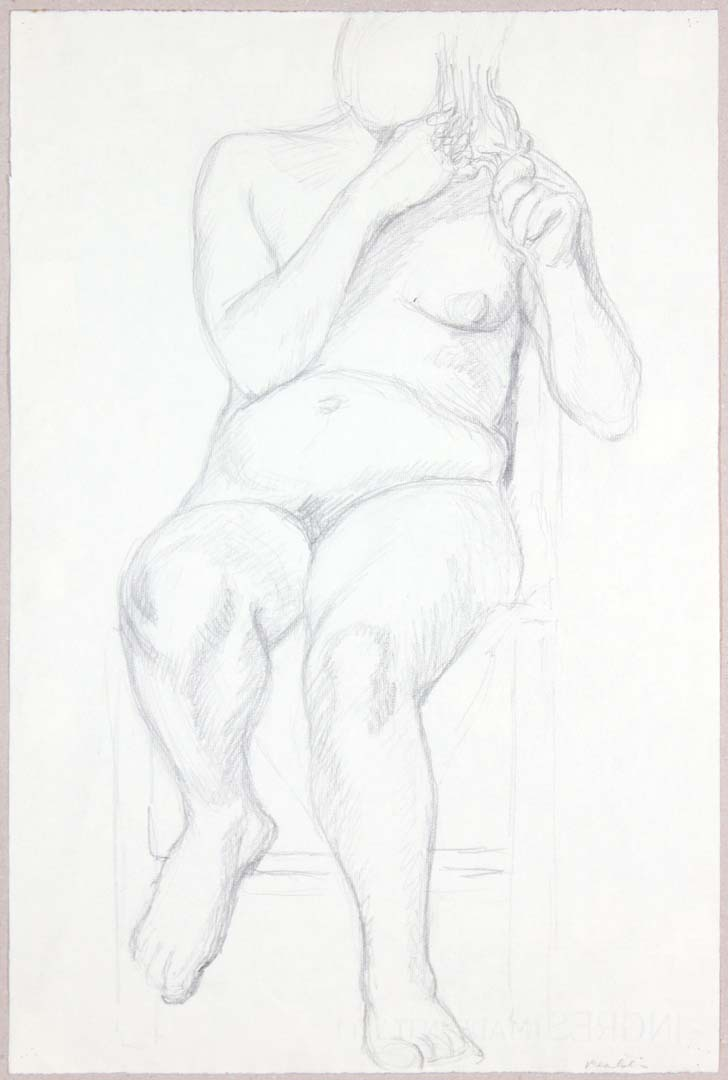 "Female Nude Holding Her Hair Graphite 19"" x 12.25"""