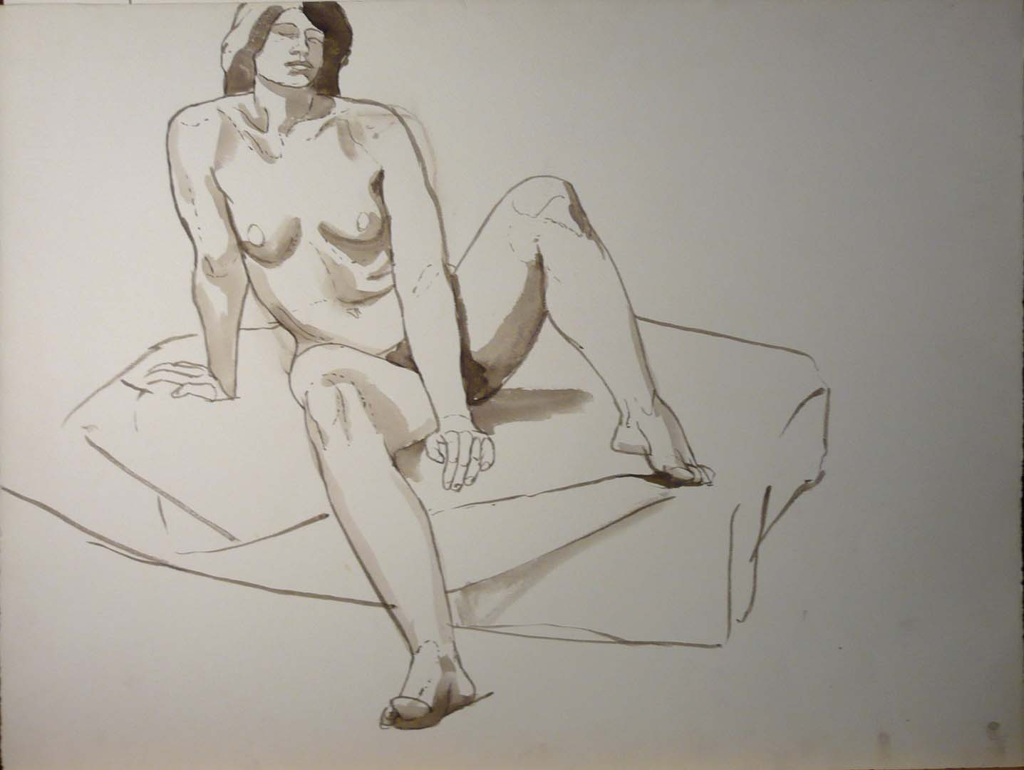Female Nude Leaning on Arm Sepia 20.625 x 27.25