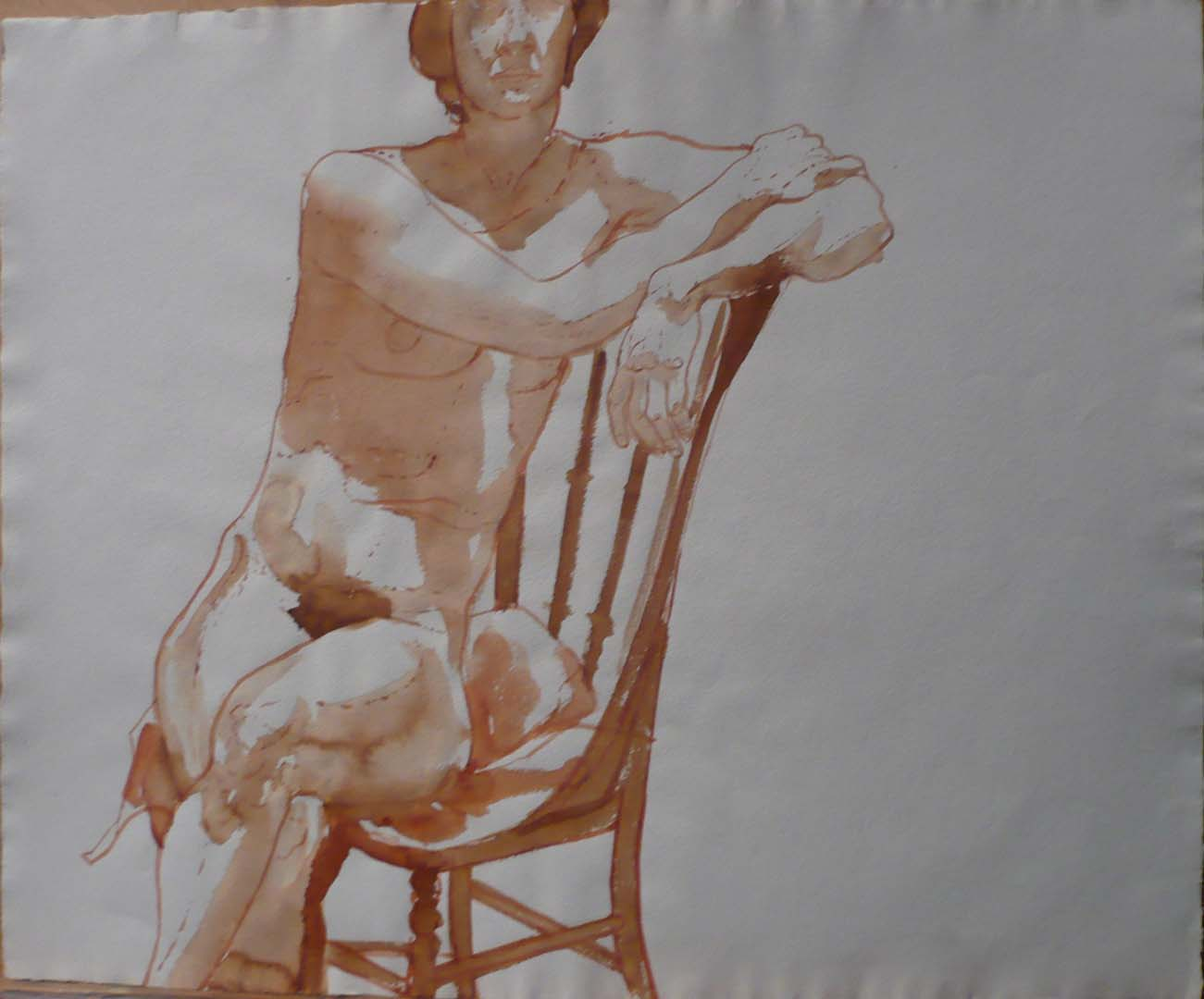 "Female Nude Seated in Chair Sepia 19.625"" x 23.75"""