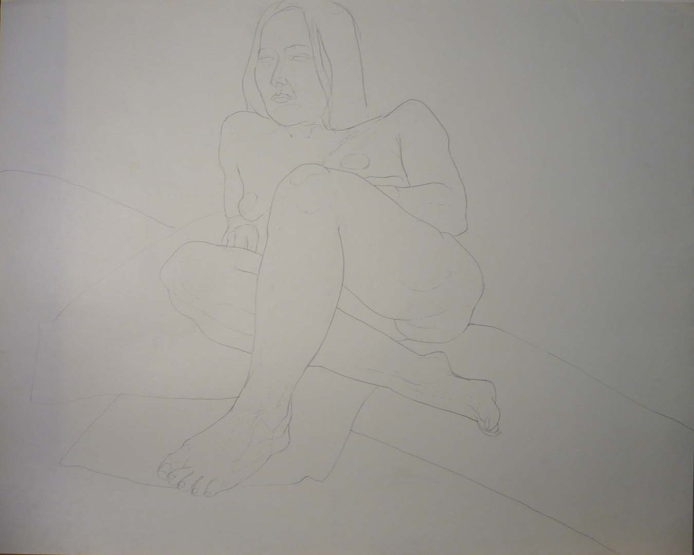 "Female Nude with Crossed Legs Pencil 22.5"" x 28.5"""