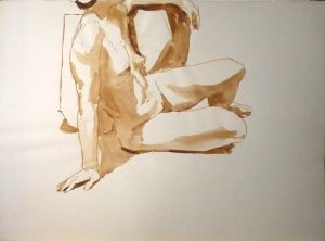 Female Seated in Studio Sepia 22 x 29.875