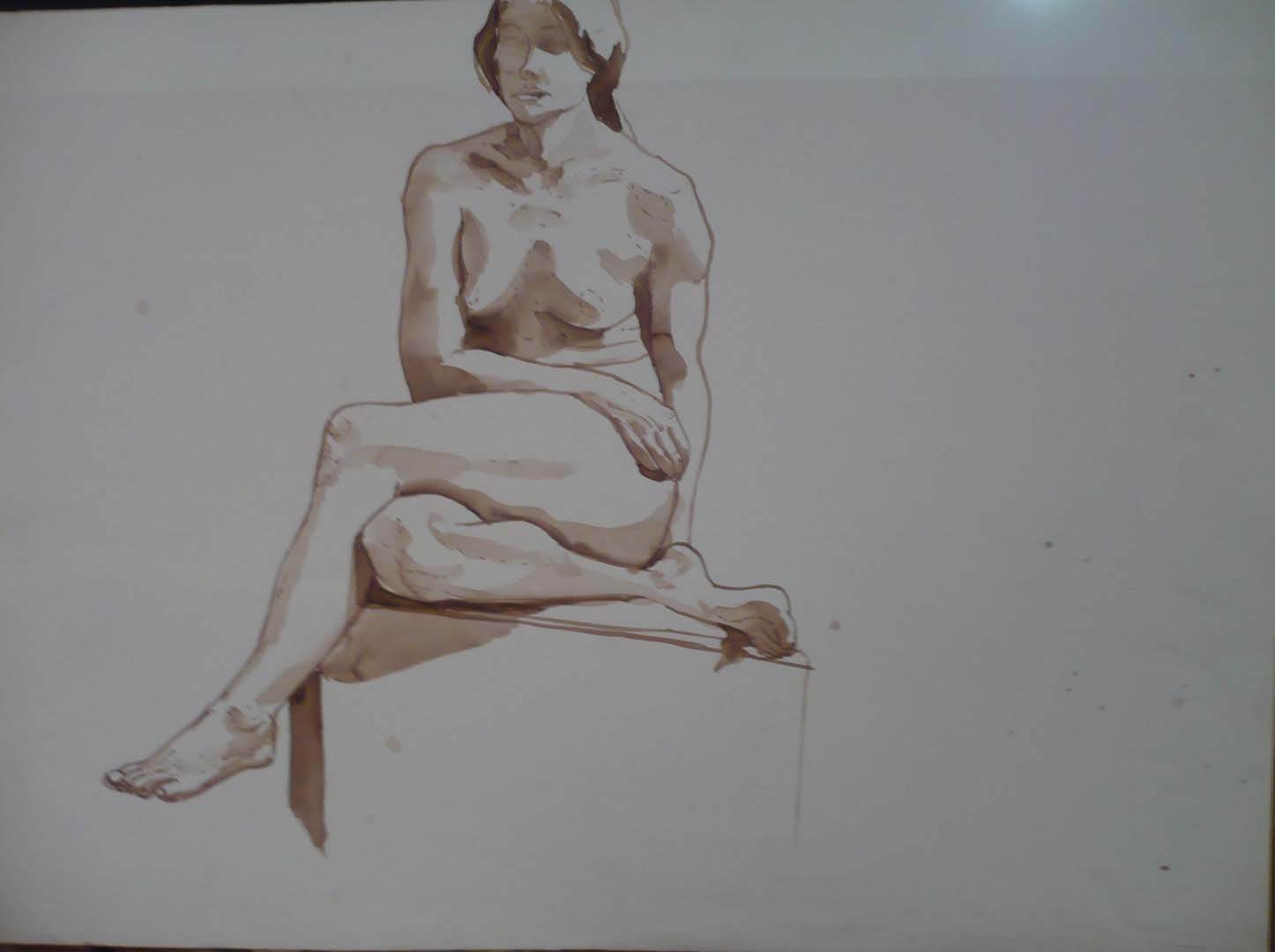 "Female Sitting with Legs Crossed Sepia 22"" x 30"""