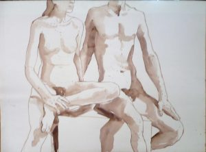 Female and Male Models Seated on bench Sepia 22 x 30