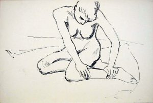 Kneeling Female Model Ink 12.125 x 17.875
