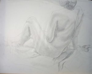 Leaning Female Leg Raised Pencil 23 x 29