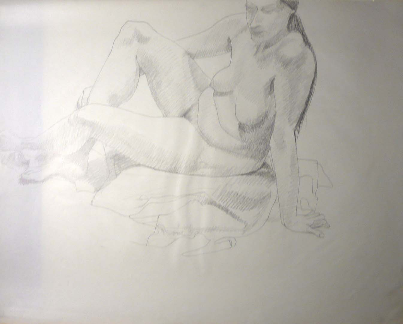 "Leaning Female Model Pencil 23"" x 29"""