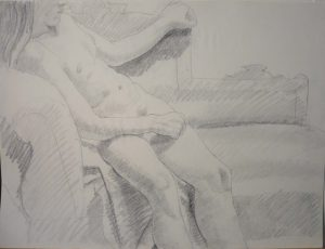 Leaning Female Model Pencil 17.875 x 23.875