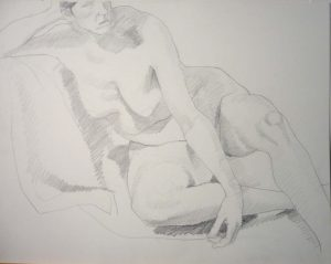 Leaning Female Model Pencil 18.75 x 24
