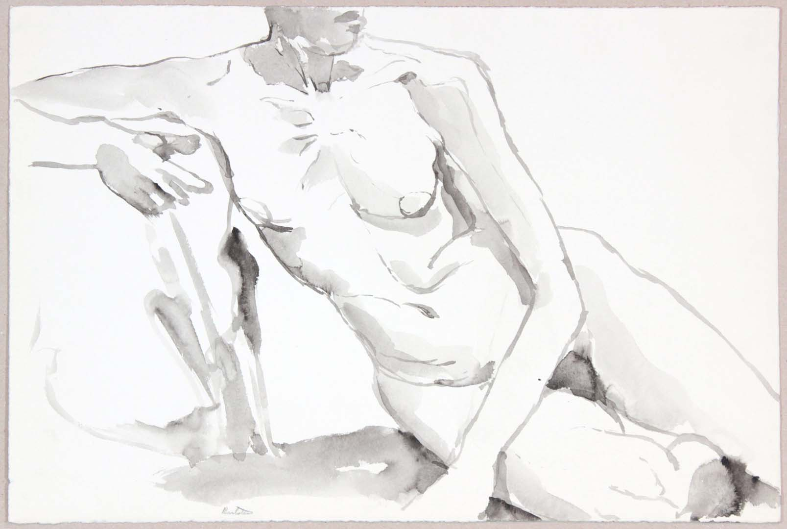 Leaning Female Nude Wash 13.75 x 20.625