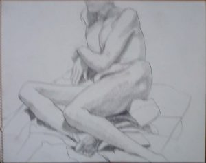 Leaning Female Nude in Studio Pencil 11 x 14