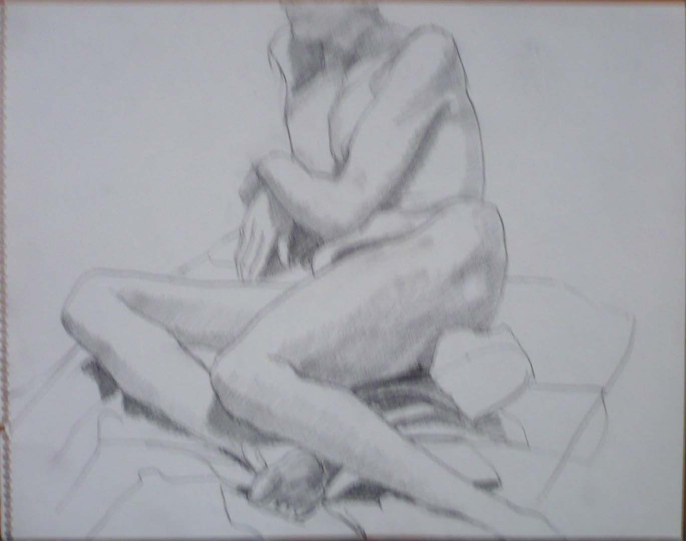 "Leaning Female Nude in Studio Pencil 11"" x 14"""