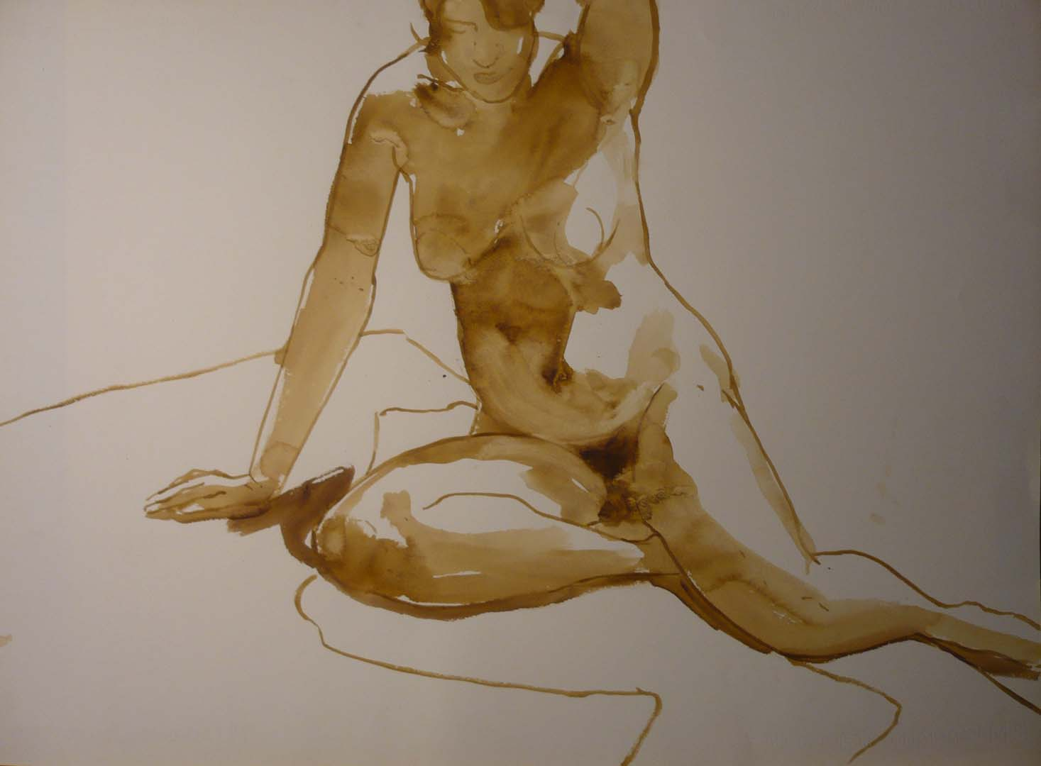 "Leaning Female Nude in Studio Sepia 22"" x 29.875"""
