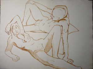 Leaning Female and Male Nudes Sepia 22.25 x 29.875.