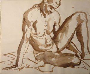 Leaning Male Model Sepia 14 x 17