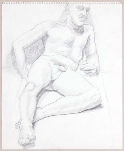 Leaning Male Nude in Studio Graphite 17 x 14